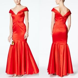 XSCAPE Red TAFFETA Off The Shoulder MERMAID GOWN